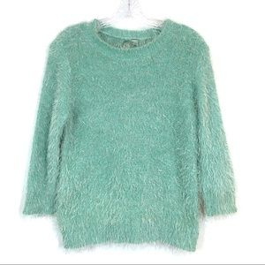 Forever 21 Mint Green Fuzzy Sweater 3/4 Sleeves L